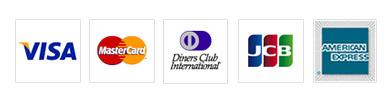 VISAカード、マスターカード、ダイナースクラブ、JCB、アメックスに対応しています